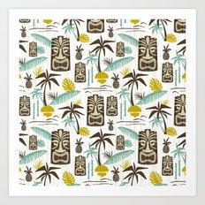 Island Tiki - White Art Print