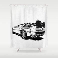 DeLorean / BW Shower Curtain