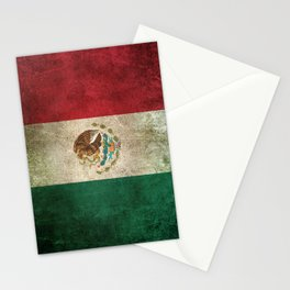 Old and Worn Distressed Vintage Flag of Mexico Stationery Cards