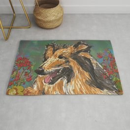 Rough Collie & Red Geraniums Rug
