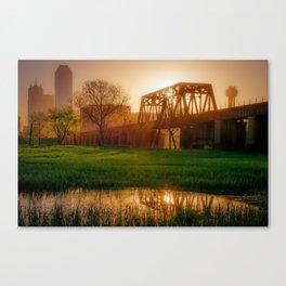 Dallas Golden Morning Light - Trinity Skyline Trail Canvas Print