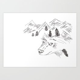 wolf in mountain Art Print