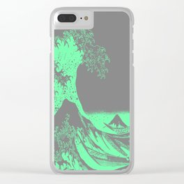The Great Wave Green & Gray Clear iPhone Case