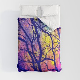 Black Trees Deep Bright & Colorful Space Comforters