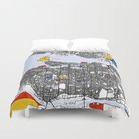 mondrian Duvet Covers featuring Vanvouver Mondrian by Mondrian Maps