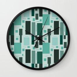 Shades Of Green Squares Wall Clock