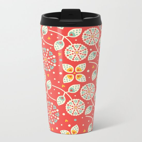 Vintage Flora Metal Travel Mug