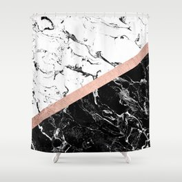 Modern black white marble color block rose gold Shower Curtain