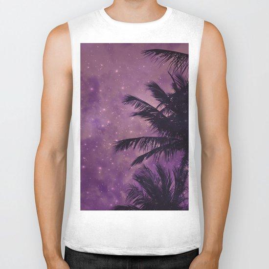 Purple Sky Palm Biker Tank