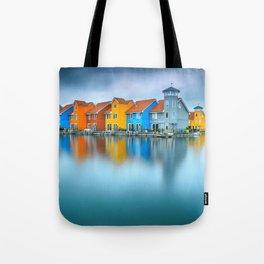 Blue Morning at Waters Edge Groningen Netherlands Europe Coastal Landscape Photograph Tote Bag