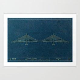 Tilikum Crossing — Blueprint Art Print