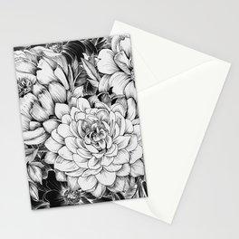 Dahlias & Peonies Black Stationery Cards