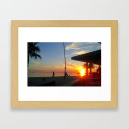 Republica sunset on St Kilda Beach Framed Art Print