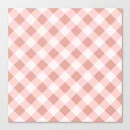 Diagonal buffalo check pale pink Canvas Print