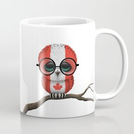 Baby Owl with Glasses and Canadian Flag Coffee Mug