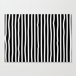 White drawing stripes - black and white  striped pattern Canvas Print