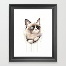 Grumpy Watercolor Cat Animals Meme Geek Art Framed Art Print