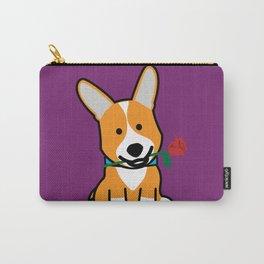 Corgi dog puppy Pembroke Welsh Valentine Rose Carry-All Pouch