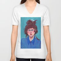 birdy V-neck T-shirts featuring Birdy by Alice Holleman