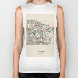 Colorful City Maps: Anaheim, California Biker Tank