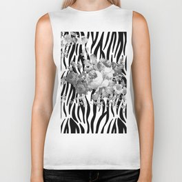 Vintage elegant black white floral zebra animal print collage Biker Tank