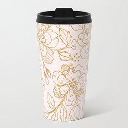 Gold Roses Travel Mug