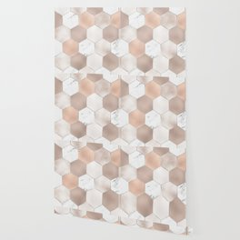 Rose pearl and marble hexagons Wallpaper