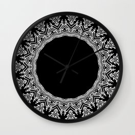 Feathers and Circles Kaleidoscope In Black and White Wall Clock