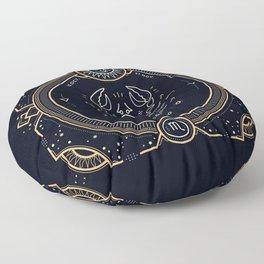 Scorpio Zodiac Golden White on Black Background Floor Pillow