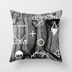 Our bones leave messages Throw Pillow