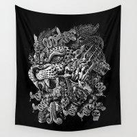 warrior Wall Tapestries featuring Jaguar Warrior by Jorge Garza