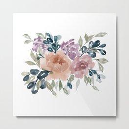 Fall Flowers + Leaves Metal Print