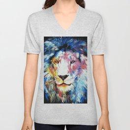 Colorful African Lion Unisex V-Neck