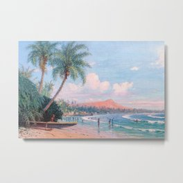 Waikiki Beach, Diamond Head, Oahu landscape painting by D. Howard Hitchcock Metal Print