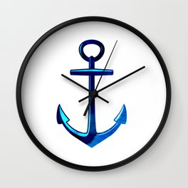 Nautical Anchor In Dark And Light Blue Wall Clock