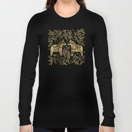 Swedish Dala Horses – Gold Palette Long Sleeve T-shirt