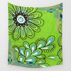 Green Flower Wall Tapestry