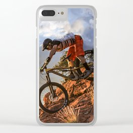 Mountain Bike in Rugged Mountain Terrain in Sunbeams Clear iPhone Case