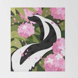 Springtime Skunk Among the Flowers Throw Blanket