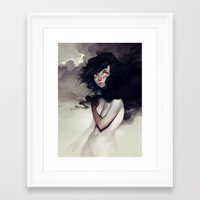clouds Framed Art Prints featuring Dark Clouds by loish