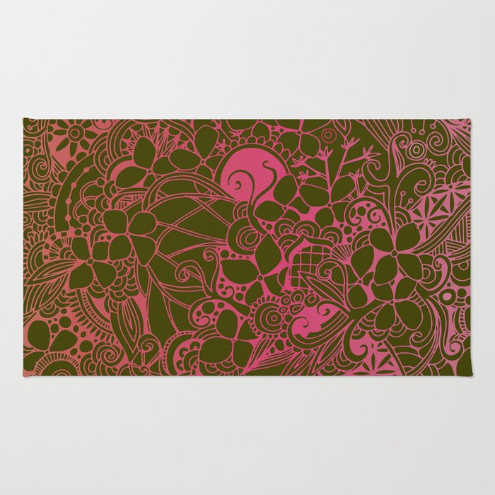 Olive square, pink floral doodle, zentangle inspired art Rug