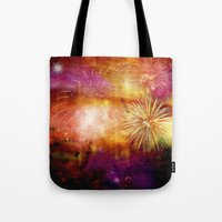 fireworks Tote Bags featuring fireworks by haroulita