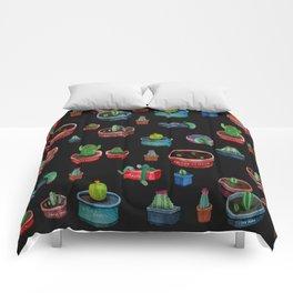 dark little cactus in pockets Comforters