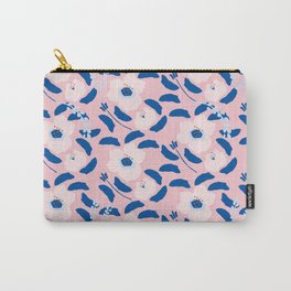 Abstract modern navy blue pink girly floral Carry-All Pouch