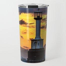 Maryport Lighthouse At Sunset Travel Mug