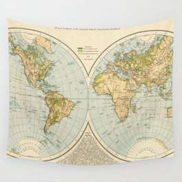 Vintage Map of The World (1895) Wall Tapestry