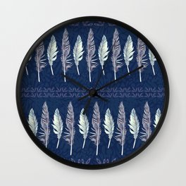 Midnight Blue Feather Formation Wall Clock