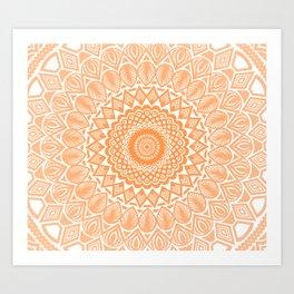 Orange Tangerine Mandala Detailed Textured Minimal Minimalistic Art Print