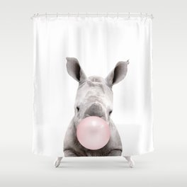 Bubble Gum Baby Rhino Shower Curtain