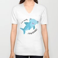 shark V-neck T-shirts featuring Shark by Michelle McCammon